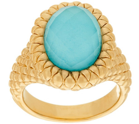 14K Gold Textured Sleeping Beauty Turquoise Doublet Ring