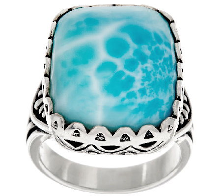 Cushion Cut Larimar Bold Sterling Ring by American West
