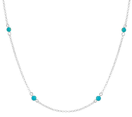 "Turquoise Bead Station Sterling Silver 36"" Necklace"
