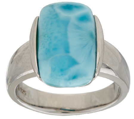 Elongated Cushion Larimar Sterling Silver Ring