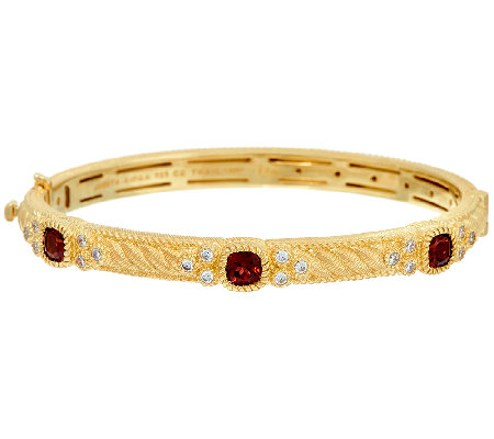 Judith Ripka Sterling & 14K Clad Gemstone Bangle Bracelet