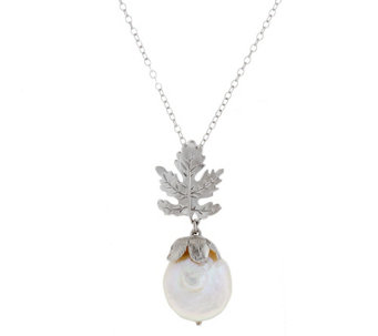 "As Is"" Ross- Simons Sterling 15.0mm Cultured Pearl Leaf Pendant 18 - J326813"