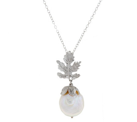 "As Is"" Ross- Simons Sterling 15.0mm Cultured Pearl Leaf Pendant 18"