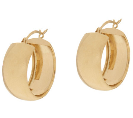 """As Is"" 14K Gold Polished Wedding Band Style Hoop Earrings"