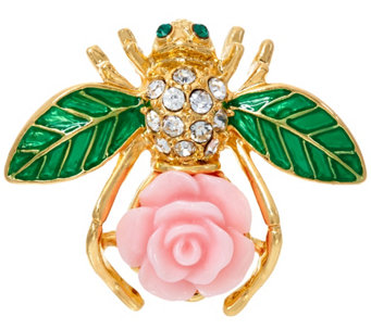 Joan Rivers Limited Edition Pink Gardenia Bee Pin - J327713