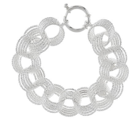 """As Is"" Sterling 6-3/4"" Textured Bold Circle Link Bracelet, 22.4g"