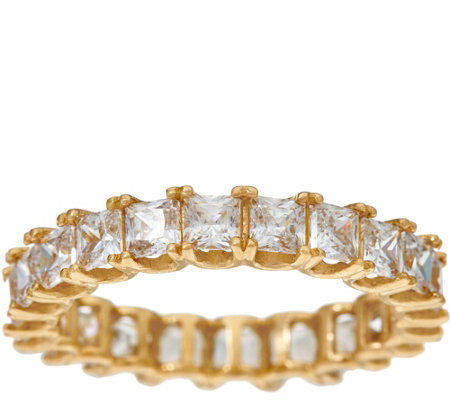 Diamonique Princess Eternity Band Ring, 14K Gold