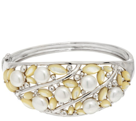 """As Is"" Honora Cultured Pearl and Mother-of- Pearl Large Sterling Bangle"