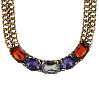 """As Is"" LOGO Links by Lori Goldstein 19"" Stone Collar Necklace - J328713"