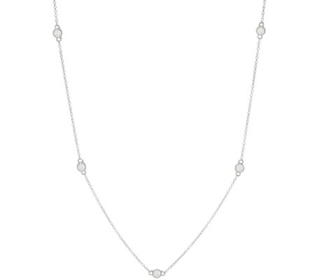 "Diamonique 36"" Station Necklace, Sterling or 14K Clad"