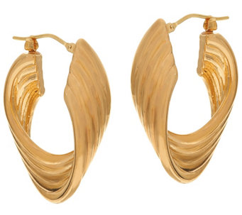 """As Is"" Oro Nuovo 1-1/4"" Polished Ribbed Twist Hoop Earrings, 14K - J329113"