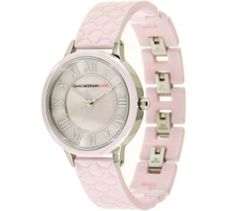 """As Is"" Isaac Mizrahi Live! Quilted Ceramic Mother-of-Pearl Dial Watch - J329913"