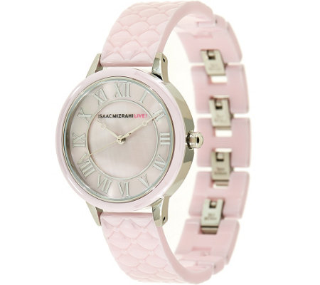 """As Is"" Isaac Mizrahi Live! Quilted Ceramic Mother-of-Pearl Dial Watch"