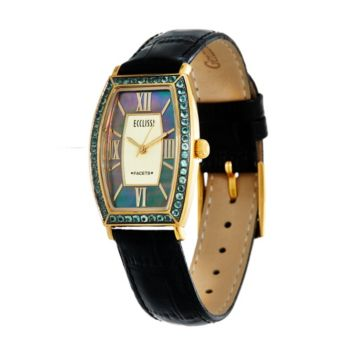 Ecclissi Facets Stainless Steel Alexandrite Leather Watch 0.75 cttw
