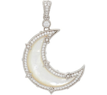Judith Ripka Sterling White Mother of Pearl Diamonique Moon Enhancer - J331113