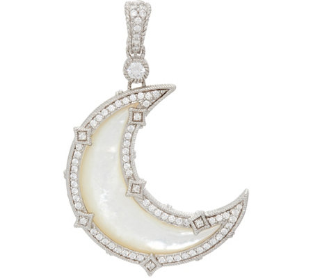Judith Ripka Sterling White Mother of Pearl Diamonique Moon Enhancer