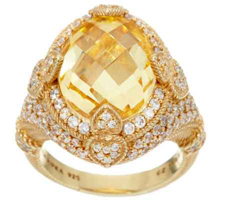 Judith Ripka 14K Clad 9.50 ct Yellow Diamonique Ring