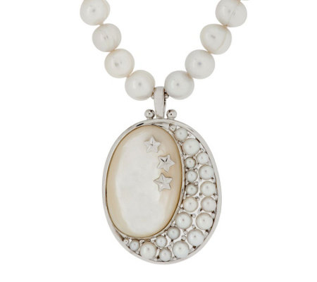 """As Is"" Honora MOP & White Cultured Pearl Sterling Moon Enhancer"