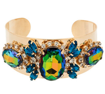 """As Is"" Susan Graver Faceted Crystal Statement Cuff Bracelet - J333113"