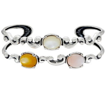 Carolyn Pollack Sterling Silver Pebble Beach Double Row Cuff Bracelet - J334013