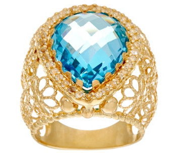 Arte d'Oro Pear Shape Gemstone Filigree Ring 18K Gold - J334713