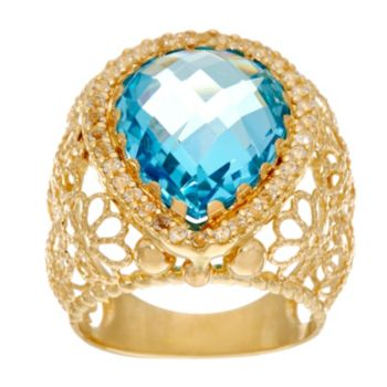 Arte d'Oro Pear Shape Gemstone Filigree Ring 18K Gold