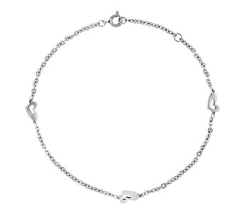 Stainless Steel Polished Heart Station Ankle Bracelet - J336313