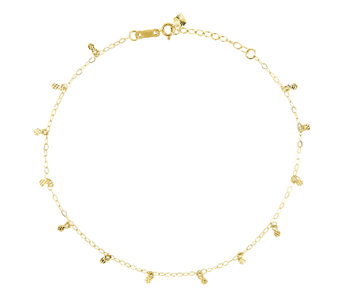 "10"" Diamond-Cut Circle Station Ankle Bracelet,14K Gold - J336413"