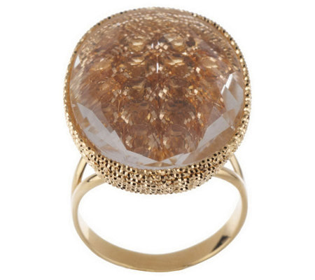 Arte d'Oro Oval Gemstone Ring w/ Crystal Overlay, 18K Gold