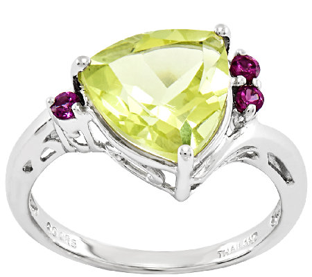 Sterling 3.20 cttw Trillion-Cut Limon Quartz Ring