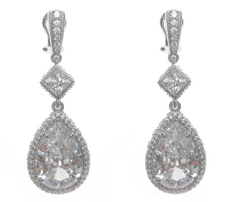 Judith Ripka Sterling 27.60cttw Diamonique PearDrop Earrings