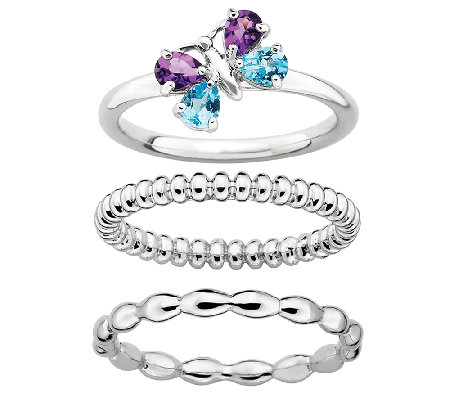 Simply Stacks Sterling 3-Ring Butterfly Set