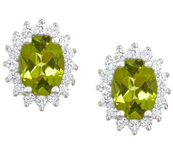 Premier 2.15cttw Oval Peridot & Diamond Earrings, 14K - J338213