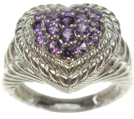 Judith Ripka Sterling Pave Gemstone Heart Ring
