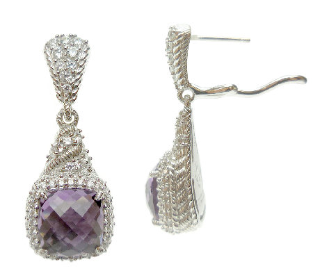 Judith Ripka Sterling Amethyst and Diamonique D angle Earrings