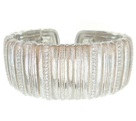 Judith Ripka Sterling Textured and White Diamon ique Wide Cuff