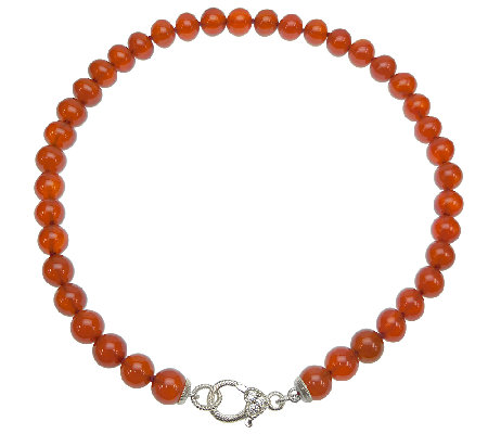 "Judith Ripka Sterling and Carnelian Bead 20"" Necklace"