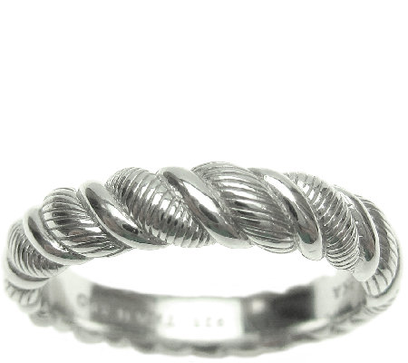 Judith Ripka Sterling Twisted Texture Wide BandRing