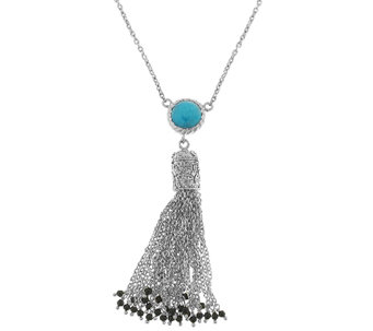 Sterling Turquoise Beaded Tassel Necklace - J341313