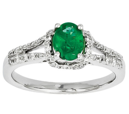 Gemstone and Diamond Ring, 14K White Gold