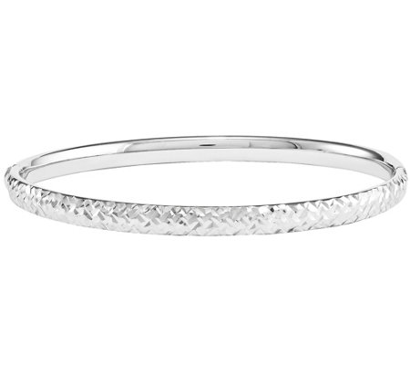 14K Gold Diamond-Cut Hinged Bangle