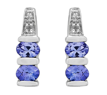 14K White Gold Tanzanite & Diamond Accent Earrings