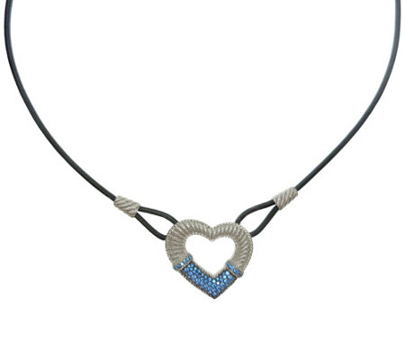 Judith Ripka Sterling Silver Diamonique Heart Necklace