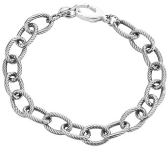 "Carolyn Pollack Sterling Oval Rope Link Chain 8"" Bracelet - J343613"