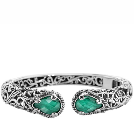 Carolyn Pollack Signature Malachite Doublet Hinged Cuff