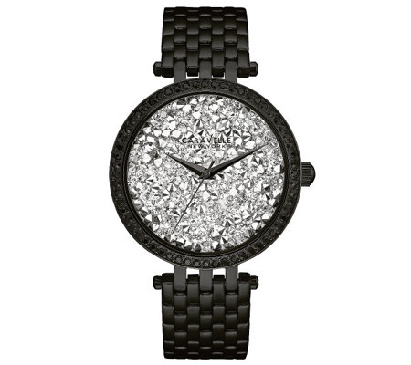 Caravelle New York Women's Black Watch w/ Crystal Dial