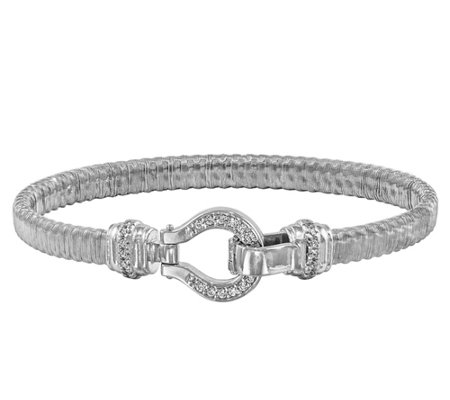 "Sterling Crystal Bridle Mesh 6-3/4"" Bracelet"