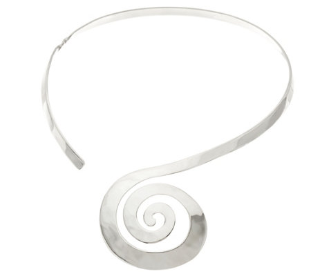 RLM Sterling Silver Swirl Collar Necklace 40.0g