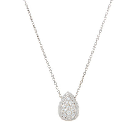 Diamonique Pave' Pear Pendant with Chain Sterling