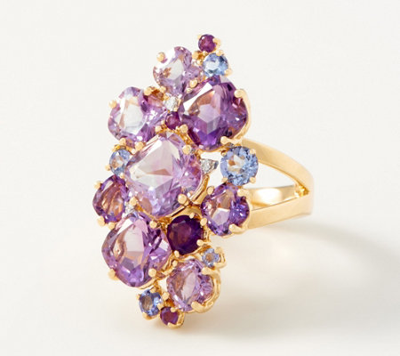 Amethyst Statement Cluster Ring, 8.00 cttw, Sterling Silver